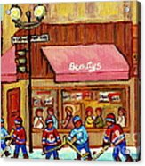 Beauty's Restaurant Paintings Of Plateau Montreal Winter Scenes Hockey Art Carole Spandau  Acrylic Print