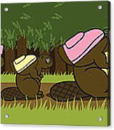 Beaver Family Walk Acrylic Print by Christy Beckwith