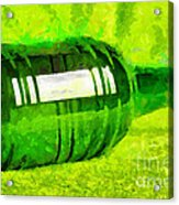 Beer Bottle Laying Over Green Painting Acrylic Print