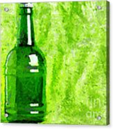 Beer Bottle Over Green Painting Acrylic Print