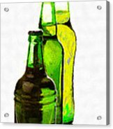 Beer Bottles Of Different Shapes Painting Acrylic Print