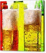 Beer Glasses Against Bottles Closeup Painting Acrylic Print