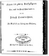 Beethoven Fidelio, 1805 Acrylic Print