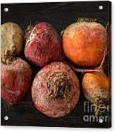Beets In Different Colors On A Dark Background Acrylic Print