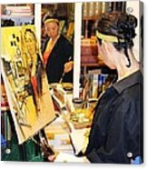 Behind The Scenes - Painting Self Portraits Acrylic Print by Becky Kim