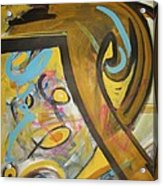Being Easy Original Abstract Colorful Figure Painting For Sale Yellow Umber Blue Pink Acrylic Print