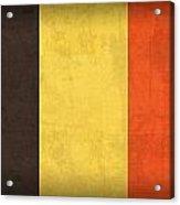 Belgium Flag Vintage Distressed Finish Acrylic Print by Design Turnpike