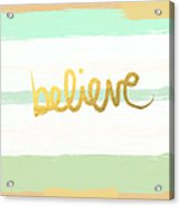 Believe In Mint And Gold Acrylic Print