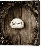 Believe In Text In The Center Of A Christmas Wreath Acrylic Print