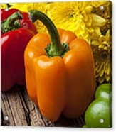 Bell Peppers And Poms Acrylic Print by Garry Gay
