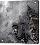 Bell Tower And Street Lamp Acrylic Print