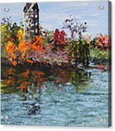Bell Tower At The Botanic Gardens In Autumn Acrylic Print