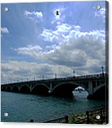 Belle Isle Bridge Detroit Acrylic Print by Michael Rucker