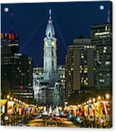 Ben Franklin Parkway And City Hall Acrylic Print