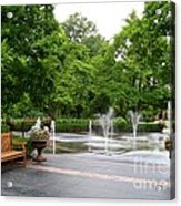 Bench And Fountain Acrylic Print