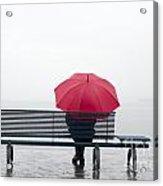 Bench And Umbrella Acrylic Print