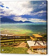 Bench At Kaikora With Approaching Storm Acrylic Print