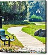 Bench In A Park With A Walkway Acrylic Print