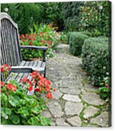 Bench In Borde Hill Gardens Acrylic Print