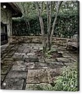 Bench In Lush Garden Acrylic Print
