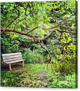 Bench In Park  Acrylic Print