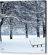 Bench In Snow Acrylic Print