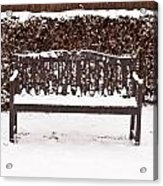 Bench In The Snow Acrylic Print