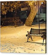 Bench In The Winter Park Acrylic Print