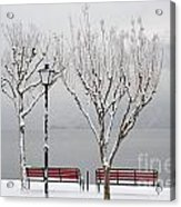 Bench On Lakefront In Winter Acrylic Print