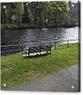 Bench On Shore Of River Ness In Inverness Acrylic Print