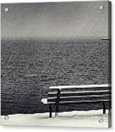 Bench On The Winter Shore Acrylic Print