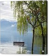 Bench With Trees On A Flooding Alpine Lake Acrylic Print