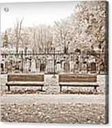 Benches By The Cemetery In Sepia Acrylic Print