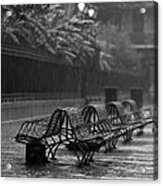 Benches In The Rain Bw Acrylic Print