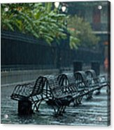 Benches In The Rain Acrylic Print