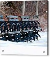 Benches In The Snow Acrylic Print