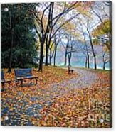 Benches Of Fall Acrylic Print