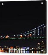 Benjamin Franklin Bridge At Night Panarama Acrylic Print