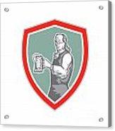 Benjamin Franklin Holding Beer Shield Retro Acrylic Print