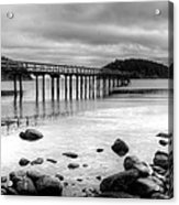 Bennet Bay Pier Black And White Acrylic Print