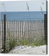 Bent Beach Fence Acrylic Print