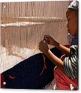 Berber Girl Working On Traditional Berber Rug Ait Benhaddou Southern Morocco Acrylic Print