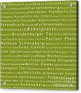 Berlin In Words Olive Acrylic Print