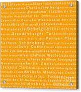 Berlin In Words Orange Acrylic Print