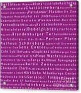 Berlin In Words Pink Acrylic Print