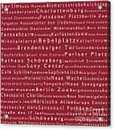 Berlin In Words Red Acrylic Print