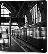 Berlin S-bahn Train Speeds Past Platform At Alexanderplatz Main Train Station Germany Acrylic Print by Joe Fox