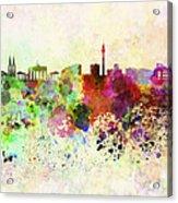 Berlin Skyline In Watercolor Background Acrylic Print