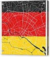 Berlin Street Map - Berlin Germany Road Map Art On German Flag Background Acrylic Print