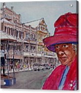 Bermuda Lady In Red And Cop Acrylic Print